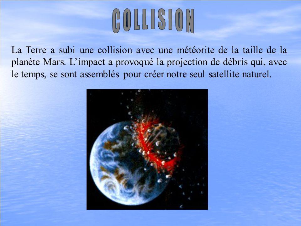 La Terre a subi une collision avec une météorite de la taille de la planète Mars. Limpact a provoqué la projection de débris qui, avec le temps, se so