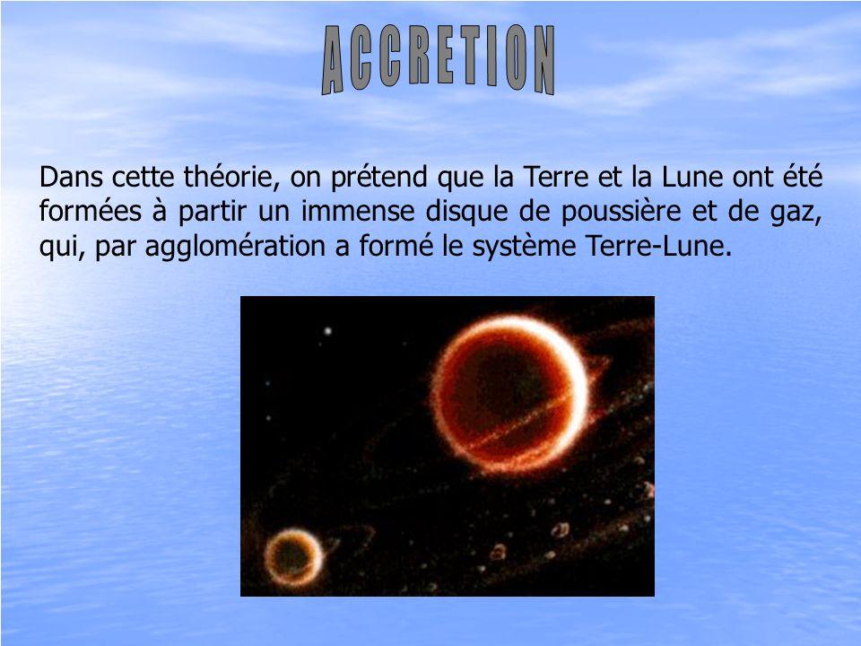 Dans cette théorie, on prétend que la Terre et la Lune ont été formées à partir un immense disque de poussière et de gaz, qui, par agglomération a for