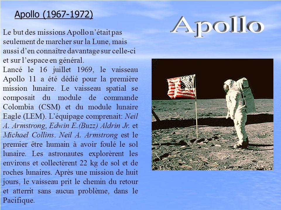 Apollo (1967-1972) Le but des missions Apollo nétait pas seulement de marcher sur la Lune, mais aussi den connaître davantage sur celle-ci et sur lesp