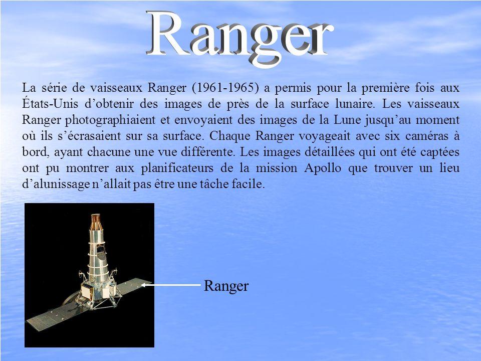 La série de vaisseaux Ranger (1961-1965) a permis pour la première fois aux États-Unis dobtenir des images de près de la surface lunaire. Les vaisseau