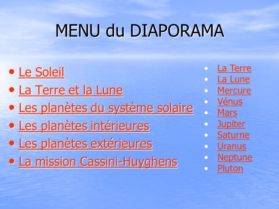 MENU du DIAPORAMA Le Soleil Le Soleil Le Soleil Le Soleil La Terre et la Lune La Terre et la Lune La Terre et la Lune La Terre et la Lune Les planètes