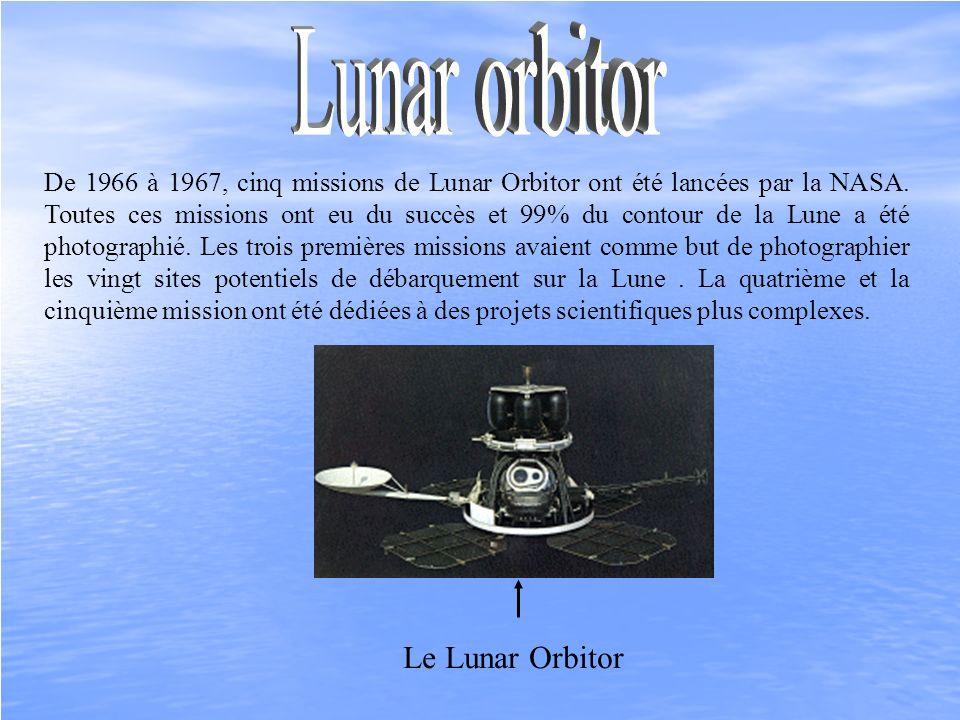 De 1966 à 1967, cinq missions de Lunar Orbitor ont été lancées par la NASA. Toutes ces missions ont eu du succès et 99% du contour de la Lune a été ph