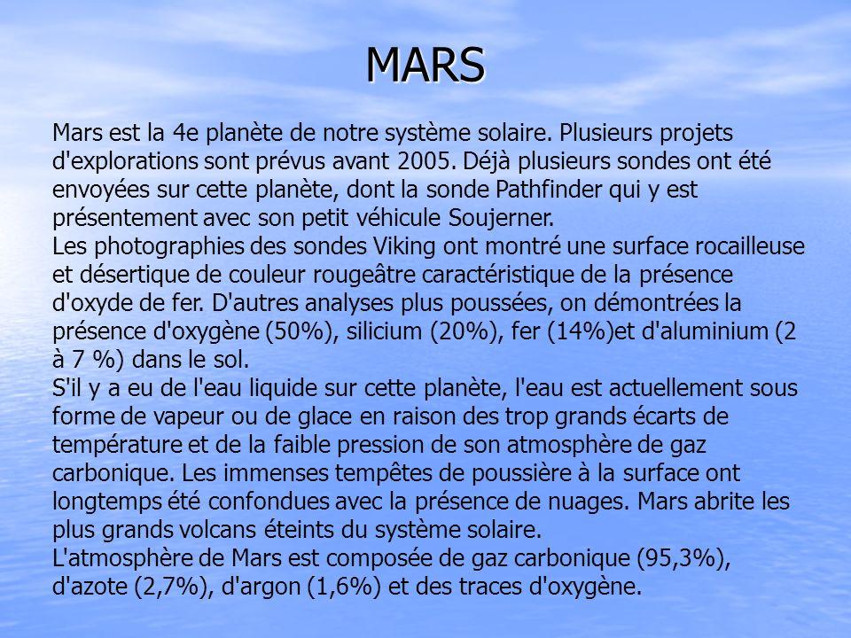 MARS Mars est la 4e planète de notre système solaire. Plusieurs projets d'explorations sont prévus avant 2005. Déjà plusieurs sondes ont été envoyées