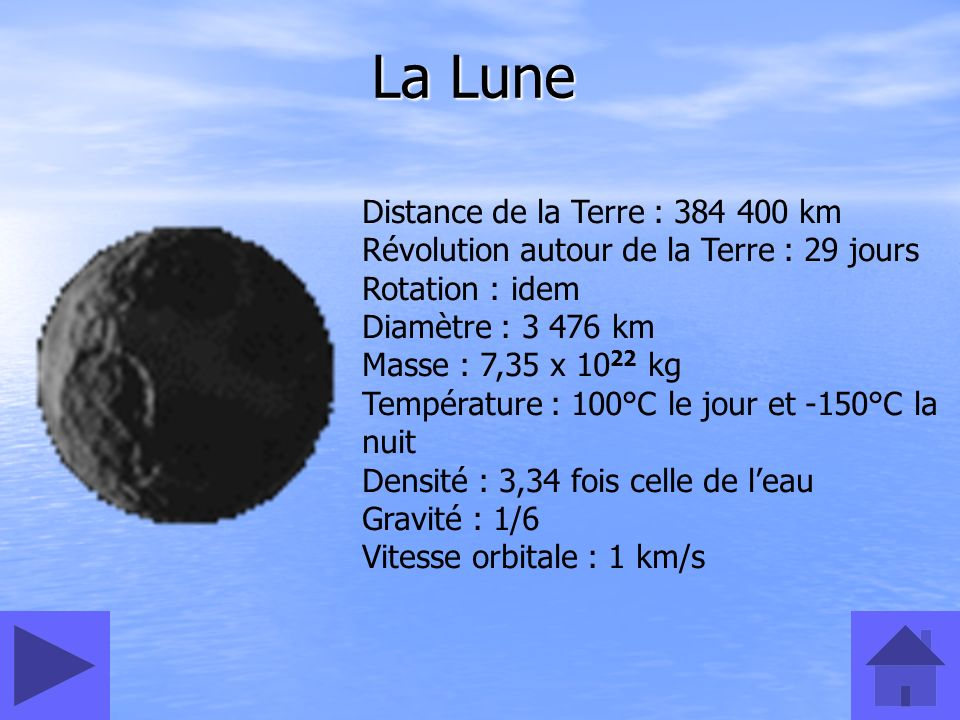 La Lune Distance de la Terre : 384 400 km Révolution autour de la Terre : 29 jours Rotation : idem Diamètre : 3 476 km Masse : 7,35 x 10 22 kg Tempéra