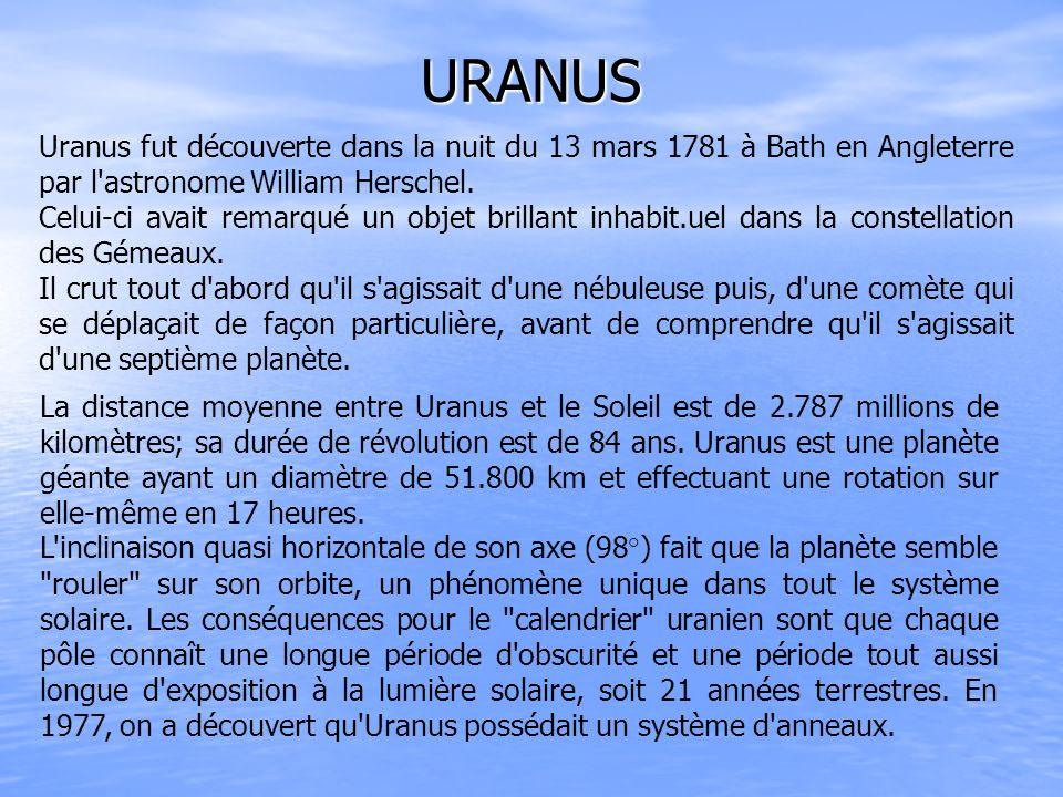 URANUS Uranus fut découverte dans la nuit du 13 mars 1781 à Bath en Angleterre par l'astronome William Herschel. Celui-ci avait remarqué un objet bril