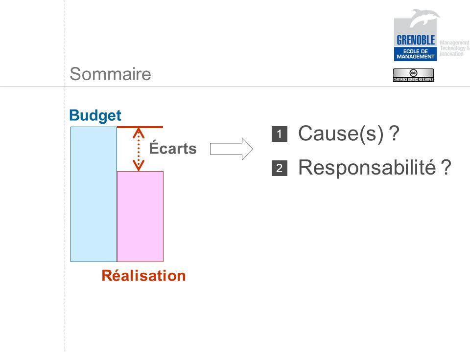 Écarts Sommaire Budget Réalisation Cause(s) ? 1 Responsabilité ? 2