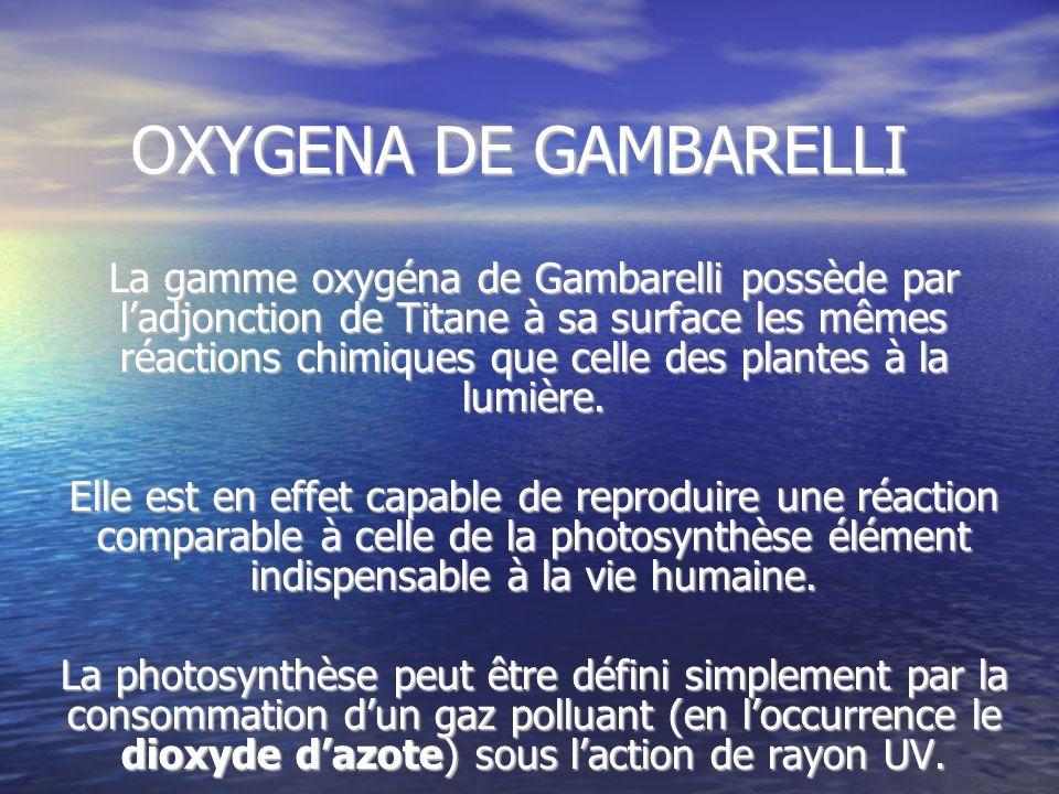 OXYGENA DE GAMBARELLI OXYGENA DE GAMBARELLI La gamme oxygéna de Gambarelli possède par ladjonction de Titane à sa surface les mêmes réactions chimique