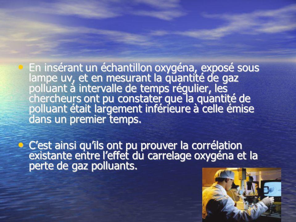 En insérant un échantillon oxygéna, exposé sous lampe uv, et en mesurant la quantité de gaz polluant à intervalle de temps régulier, les chercheurs on