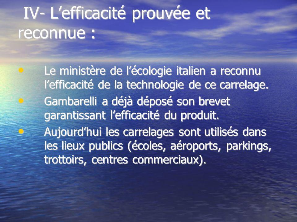 IV- Lefficacité prouvée et reconnue : IV- Lefficacité prouvée et reconnue : Le ministère de lécologie italien a reconnu lefficacité de la technologie