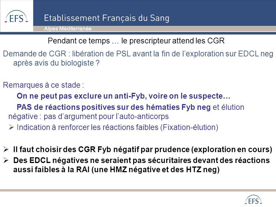 Alpes Méditerranée Demande de CGR : libération de PSL avant la fin de lexploration sur EDCL neg après avis du biologiste ? Remarques à ce stade : On n