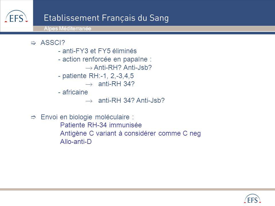 Alpes Méditerranée ASSCI? - anti-FY3 et FY5 éliminés - action renforcée en papaïne : Anti-RH? Anti-Jsb? - patiente RH:-1, 2,-3,4,5 anti-RH 34? - afric