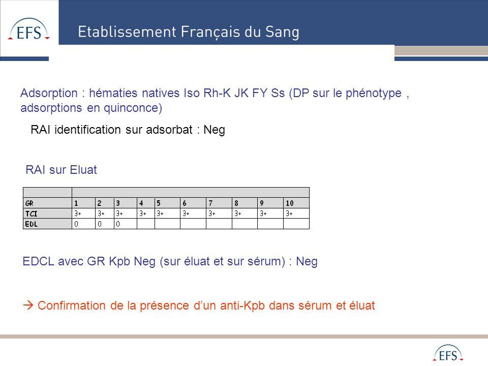 Alpes Méditerranée Adsorption : hématies natives Iso Rh-K JK FY Ss (DP sur le phénotype, adsorptions en quinconce) RAI identification sur adsorbat : N
