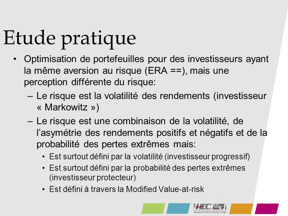 Etude pratique Optimisation de portefeuilles pour des investisseurs ayant la même aversion au risque (ERA ==), mais une perception différente du risque: –Le risque est la volatilité des rendements (investisseur « Markowitz ») –Le risque est une combinaison de la volatilité, de lasymétrie des rendements positifs et négatifs et de la probabilité des pertes extrêmes mais: Est surtout défini par la volatilité (investisseur progressif) Est surtout défini par la probabilité des pertes extrêmes (investisseur protecteur) Est défini à travers la Modified Value-at-risk
