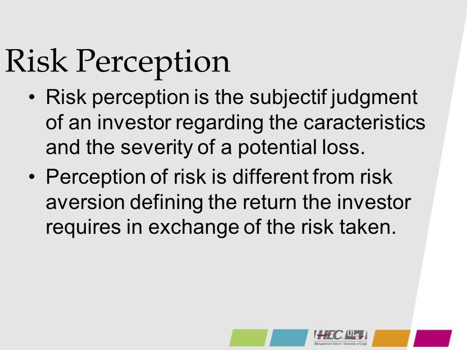 Risk Perception Risk perception is the subjectif judgment of an investor regarding the caracteristics and the severity of a potential loss. Perception
