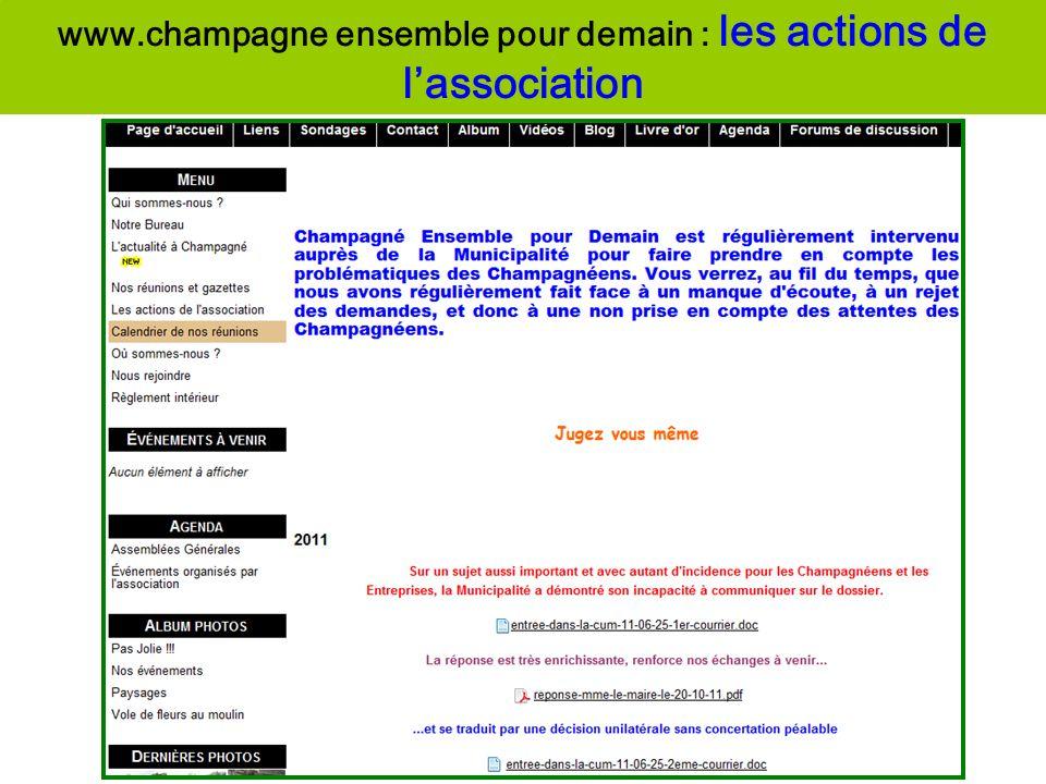 www.champagne ensemble pour demain : les actions de lassociation