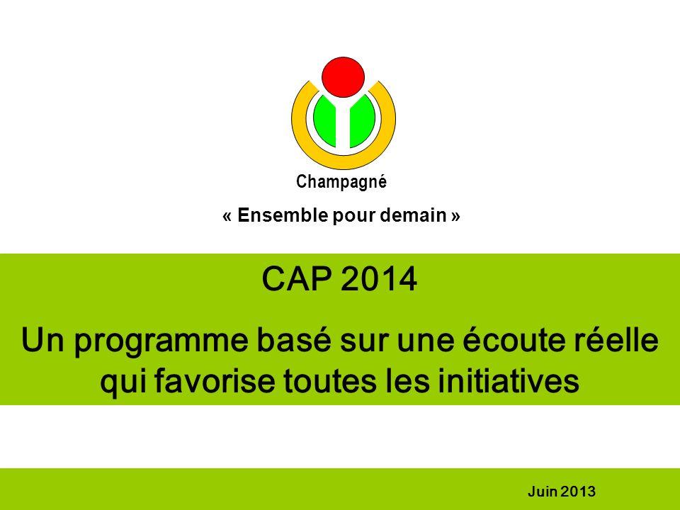 CAP 2014 Un programme basé sur une écoute réelle qui favorise toutes les initiatives Juin 2013 Champagné « Ensemble pour demain »