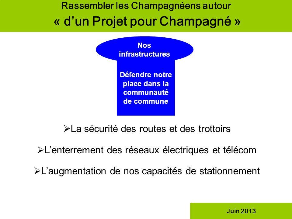 Défendre notre place dans la communauté de commune Rassembler les Champagnéens autour « dun Projet pour Champagné » Nos infrastructures Juin 2013 La s