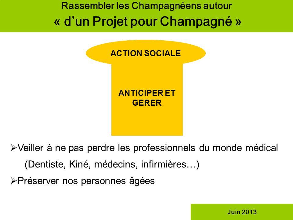 Rassembler les Champagnéens autour « dun Projet pour Champagné » ACTION SOCIALE ANTICIPER ET GERER Juin 2013 Veiller à ne pas perdre les professionnel