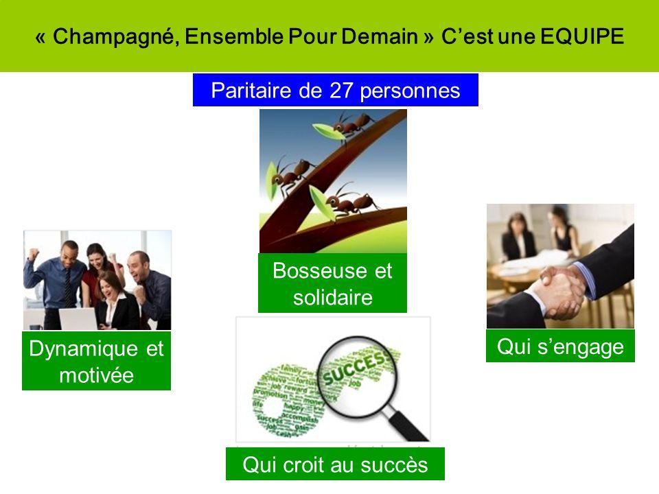« Champagné, Ensemble Pour Demain » Cest une EQUIPE Paritaire de 27 personnes Dynamique et motivée Bosseuse et solidaire Qui sengage Qui croit au succ