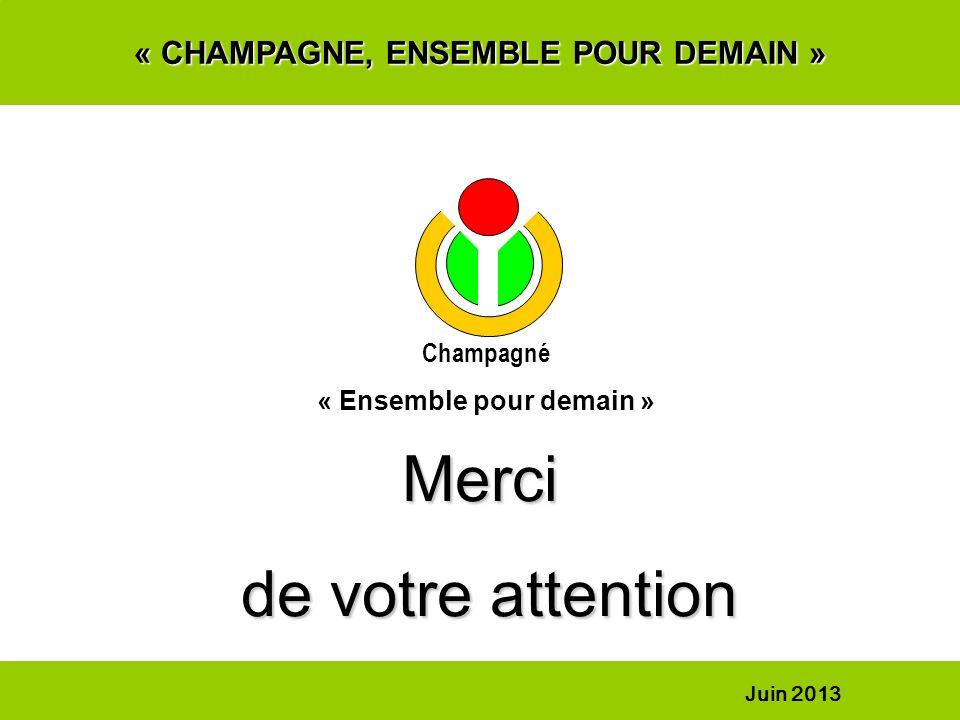 « CHAMPAGNE, ENSEMBLE POUR DEMAIN » Merci de votre attention de votre attention Champagné « Ensemble pour demain » Juin 2013