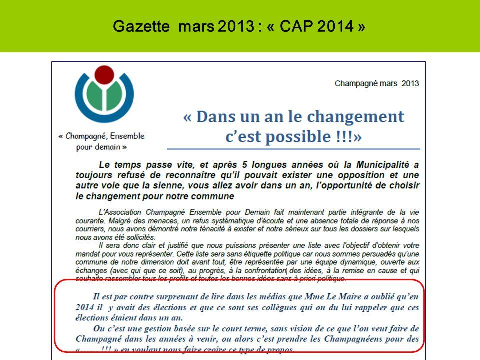 Gazette mars 2013 : « CAP 2014 » Rien de nouveau à linitiative de la Municipalité