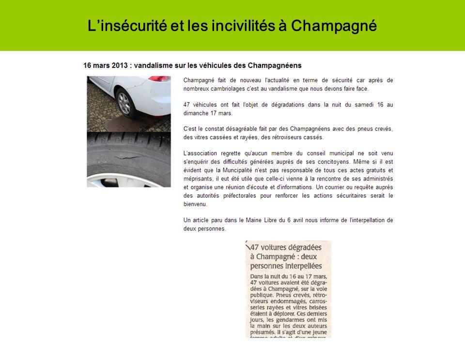 Linsécurité et les incivilités à Champagné