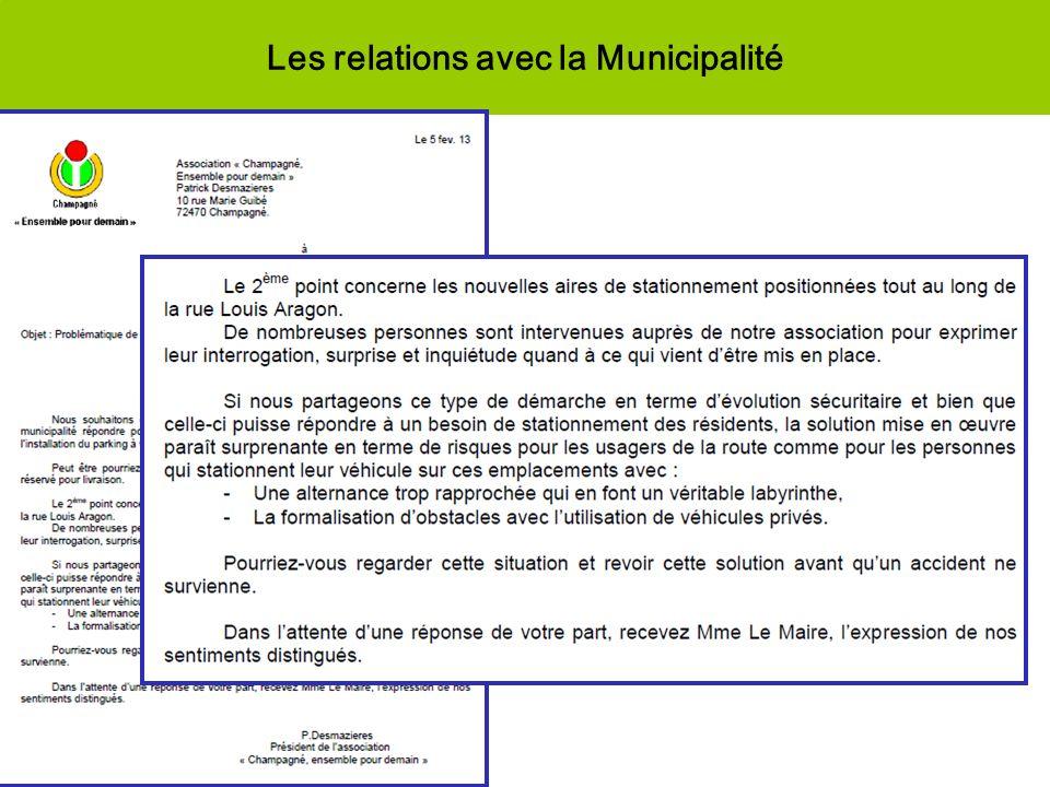 Les relations avec la Municipalité