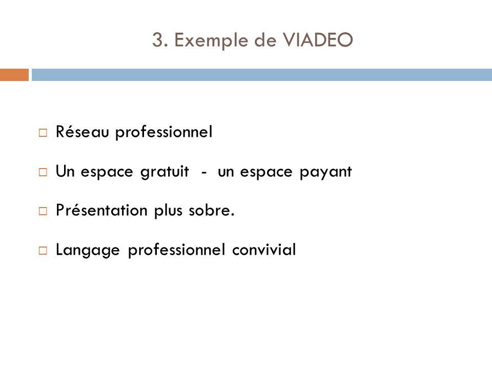 3. Exemple de VIADEO Réseau professionnel Un espace gratuit - un espace payant Présentation plus sobre. Langage professionnel convivial
