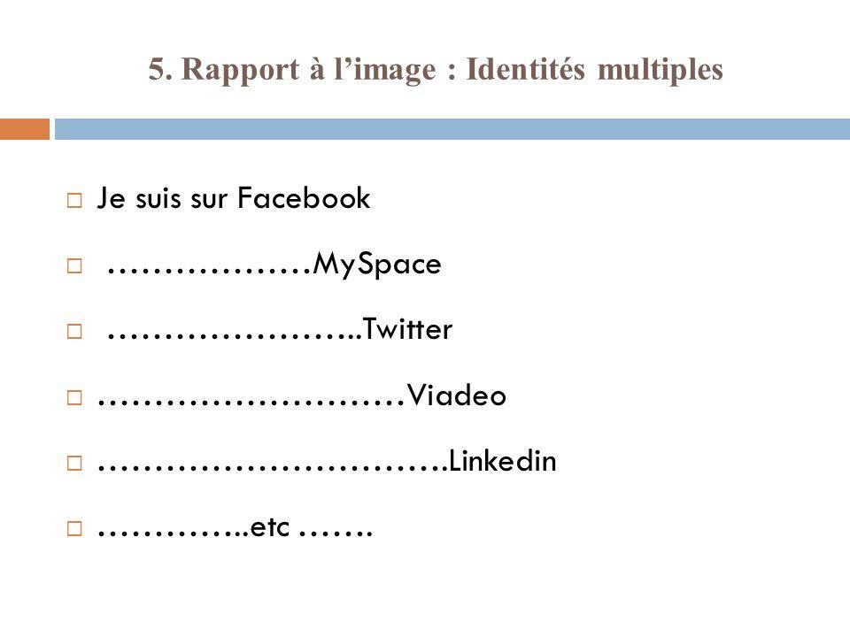 5. Rapport à limage : Identités multiples Je suis sur Facebook ………………MySpace …………………..Twitter ………………………Viadeo ………………………….Linkedin …………..etc …….