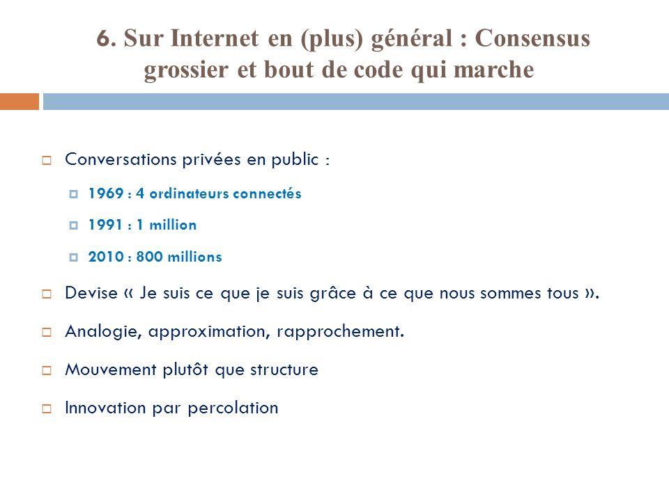 6. Sur Internet en (plus) général : Consensus grossier et bout de code qui marche Conversations privées en public : 1969 : 4 ordinateurs connectés 199
