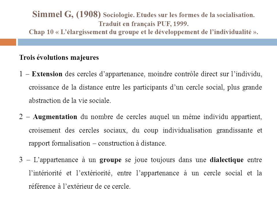 Simmel G, (1908) Sociologie. Etudes sur les formes de la socialisation. Traduit en français PUF, 1999. Chap 10 « Lélargissement du groupe et le dévelo