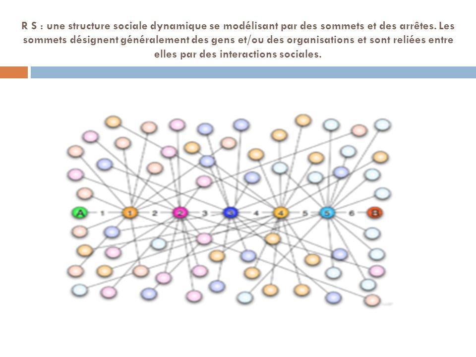 R S : une structure sociale dynamique se modélisant par des sommets et des arrêtes. Les sommets désignent généralement des gens et/ou des organisation