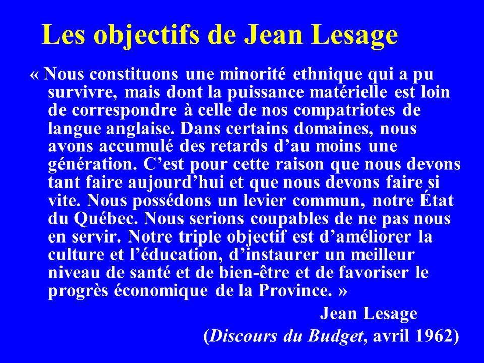 Les objectifs de Jean Lesage « Nous constituons une minorité ethnique qui a pu survivre, mais dont la puissance matérielle est loin de correspondre à celle de nos compatriotes de langue anglaise.