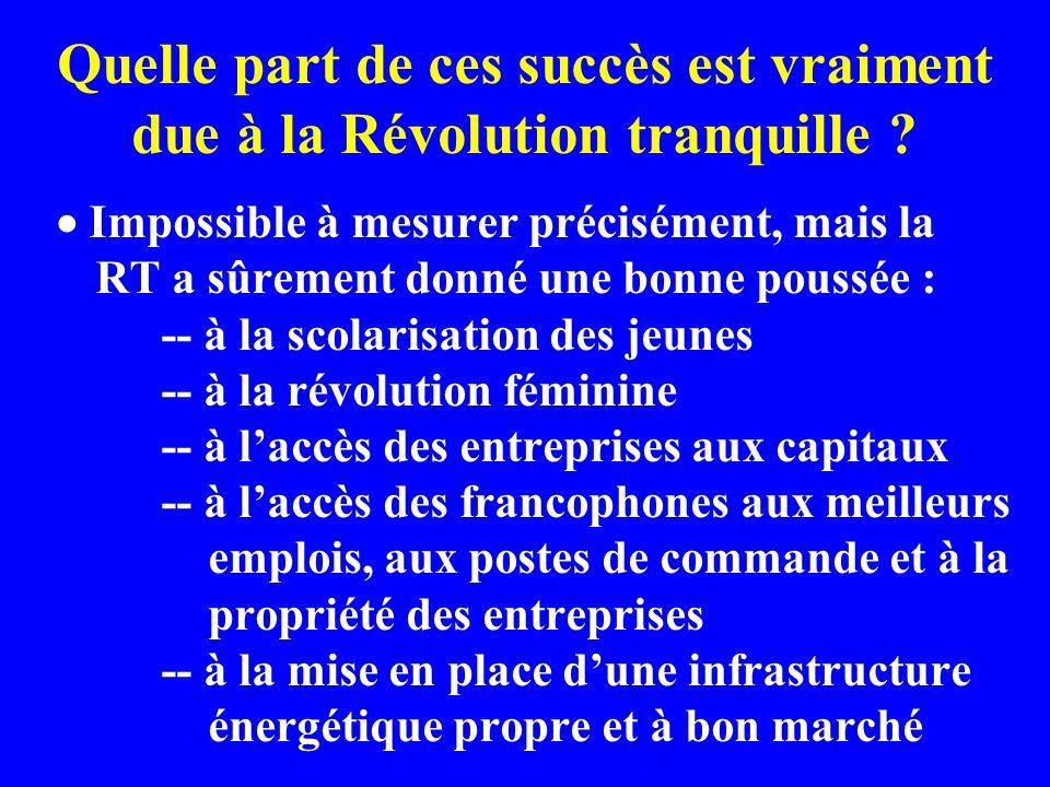 Quelle part de ces succès est vraiment due à la Révolution tranquille .