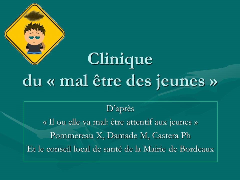 Clinique du « mal être des jeunes » Daprès « Il ou elle va mal: être attentif aux jeunes » Pommereau X, Damade M, Castera Ph Et le conseil local de sa