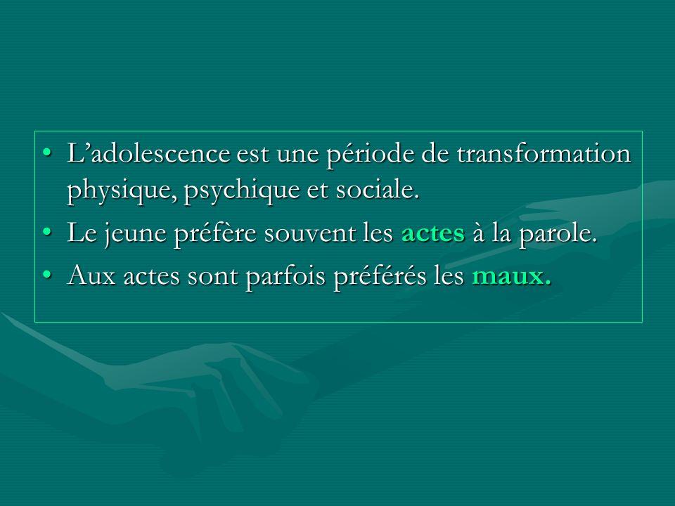 Ladolescence est une période de transformation physique, psychique et sociale.Ladolescence est une période de transformation physique, psychique et so