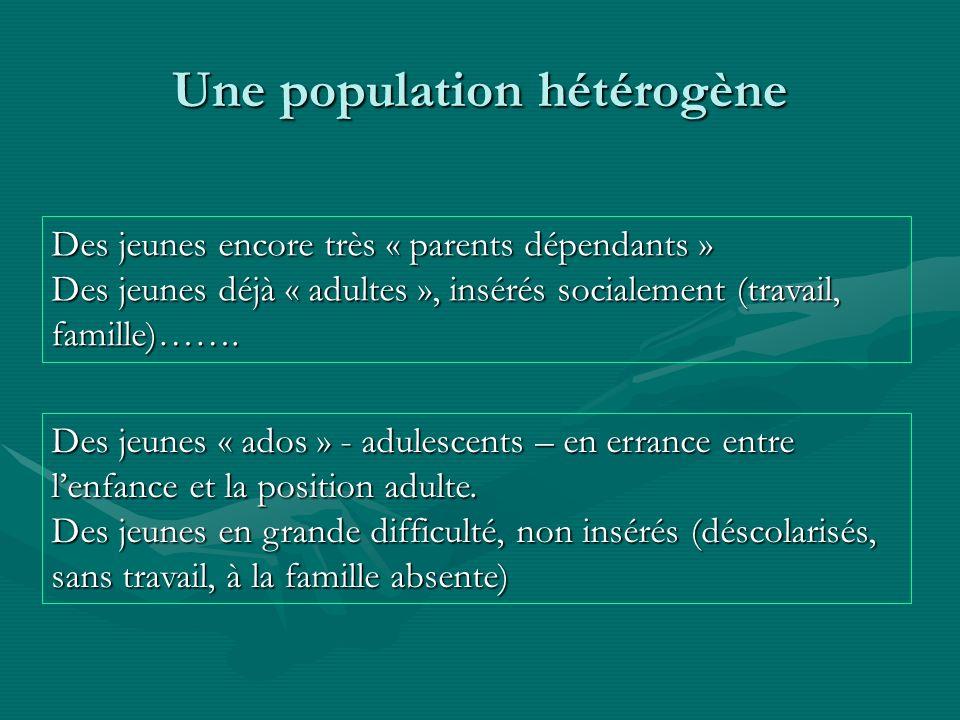 Une population hétérogène Des jeunes encore très « parents dépendants » Des jeunes encore très « parents dépendants » Des jeunes déjà « adultes », ins