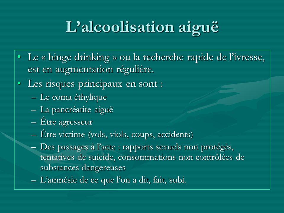 Lalcoolisation aiguë Le « binge drinking » ou la recherche rapide de livresse, est en augmentation régulière.Le « binge drinking » ou la recherche rap
