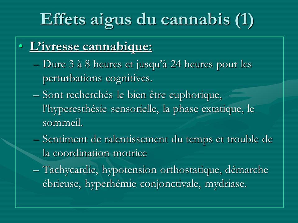 Effets aigus du cannabis (1) Livresse cannabique:Livresse cannabique: –Dure 3 à 8 heures et jusquà 24 heures pour les perturbations cognitives. –Sont