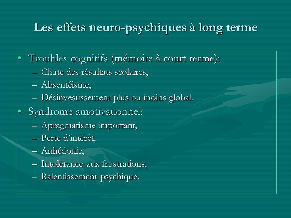 Les effets neuro-psychiques à long terme Troubles cognitifs (mémoire à court terme):Troubles cognitifs (mémoire à court terme): –Chute des résultats s