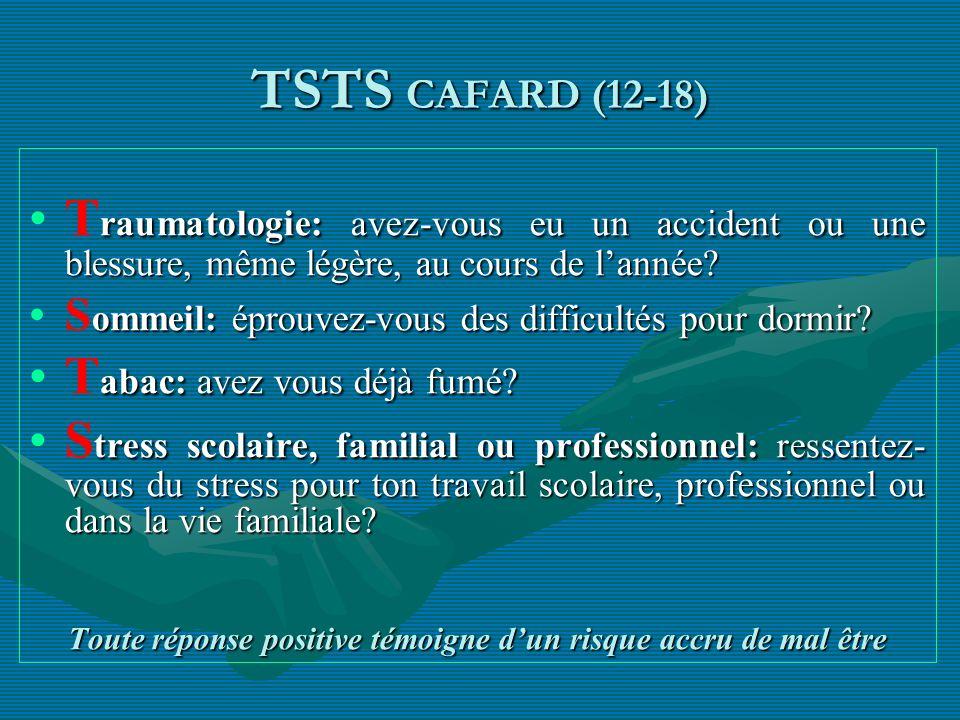 TSTS CAFARD (12-18) raumatologie: avez-vous eu un accident ou une blessure, même légère, au cours de lannée?T raumatologie: avez-vous eu un accident o