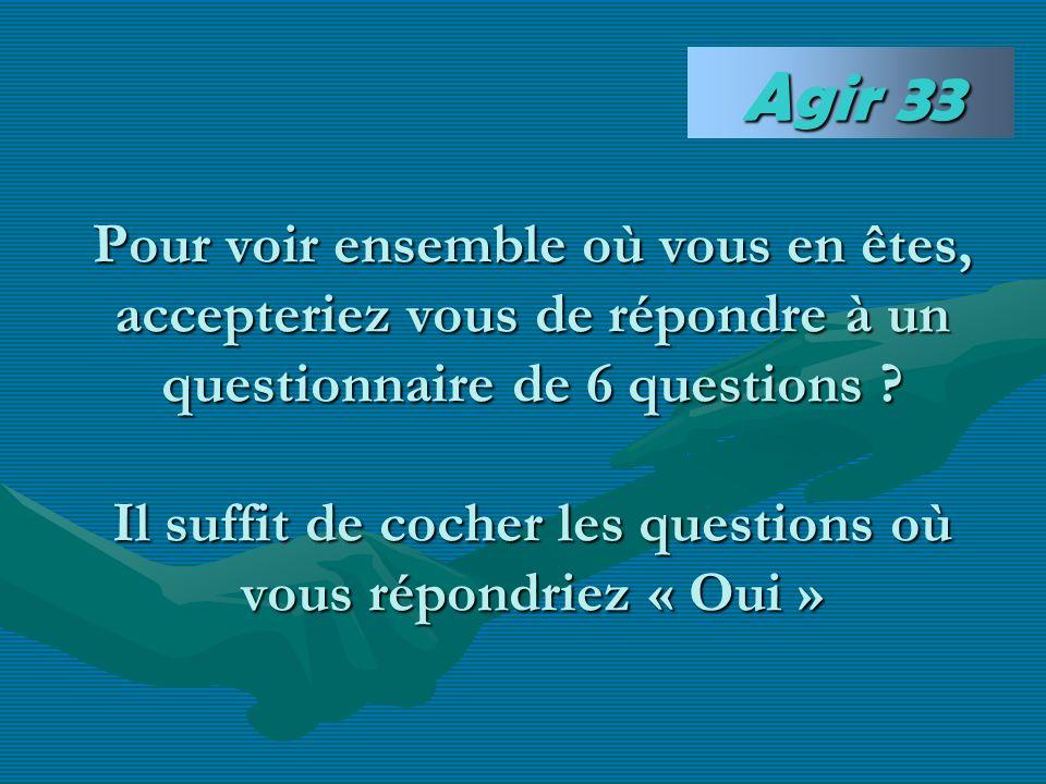 Pour voir ensemble où vous en êtes, accepteriez vous de répondre à un questionnaire de 6 questions ? Il suffit de cocher les questions où vous répondr