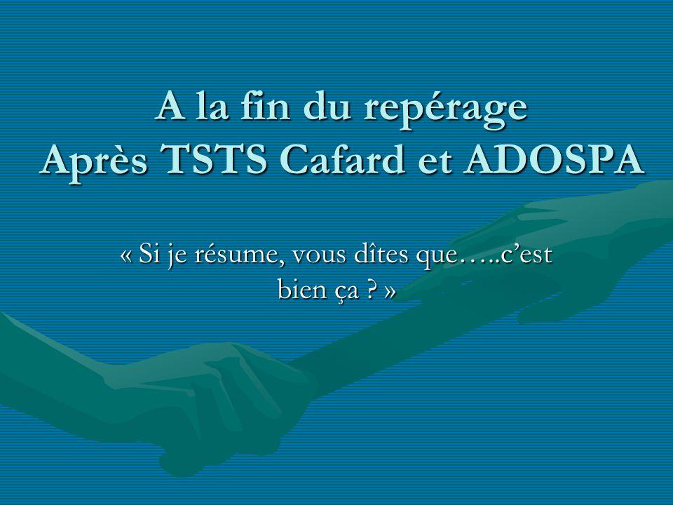 A la fin du repérage Après TSTS Cafard et ADOSPA « Si je résume, vous dîtes que…..cest bien ça ? »