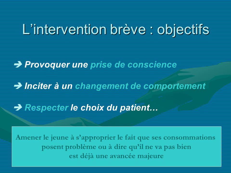 Lintervention brève : objectifs Provoquer une prise de conscience Inciter à un changement de comportement Respecter le choix du patient… Amener le jeu