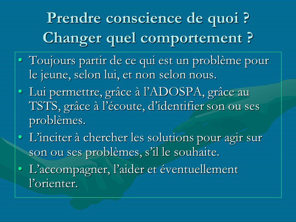 Prendre conscience de quoi ? Changer quel comportement ? Toujours partir de ce qui est un problème pour le jeune, selon lui, et non selon nous.Toujour