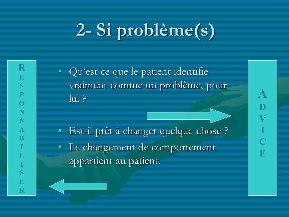 2- Si problème(s) Quest ce que le patient identifie vraiment comme un problème, pour lui ?Quest ce que le patient identifie vraiment comme un problème