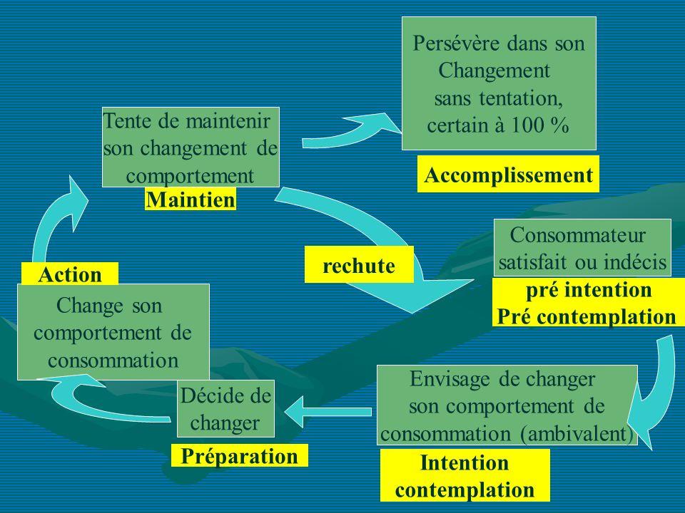 Consommateur satisfait ou indécis Envisage de changer son comportement de consommation (ambivalent) Décide de changer Change son comportement de conso