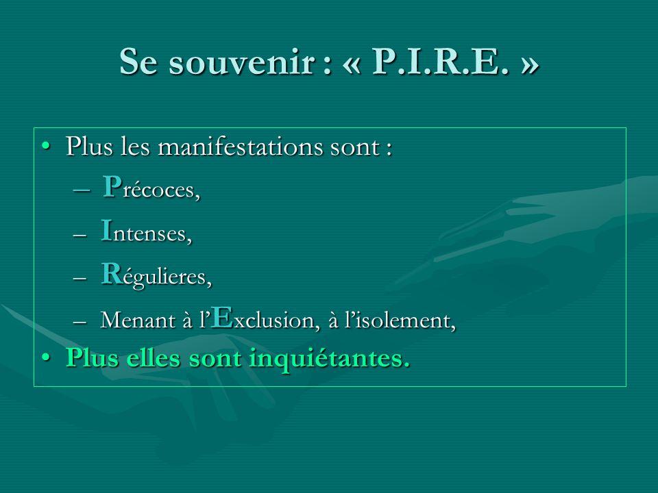 Se souvenir : « P.I.R.E. » Plus les manifestations sont :Plus les manifestations sont : – P récoces, – I ntenses, – R égulieres, – Menant à l E xclusi