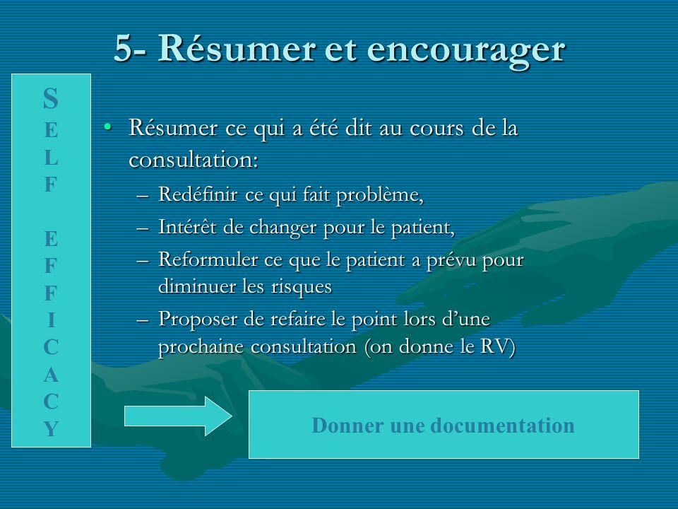5- Résumer et encourager Résumer ce qui a été dit au cours de la consultation:Résumer ce qui a été dit au cours de la consultation: –Redéfinir ce qui