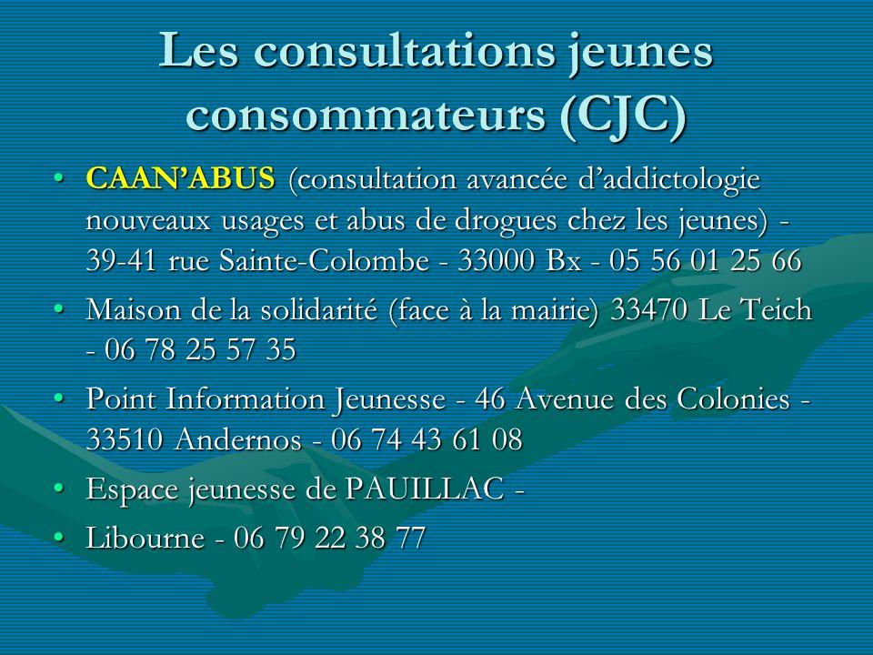 Les consultations jeunes consommateurs (CJC) CAANABUS (consultation avancée daddictologie nouveaux usages et abus de drogues chez les jeunes) - 39-41